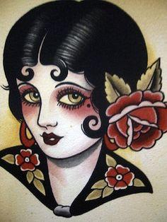 Vintage Tattoo Designs: Retro Tattoo Girl - InfoBarrel Images