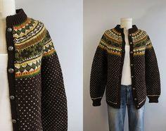 Vintage Nordic Wool Fair Isle Cardigan / Hand Knit by zestvintage, $88.00