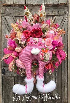 Bunny Booty, Whimsical Easter Wreath, Bunny, Door Decor, Easter Wreath, Bunny Wreath, Spring Wreath, Alice In Wonderland Wreath Meet Patches the bunny! She's so cute and a little funny. You might even call her honey cause she's so Sweet and ready to meet your acquaintance!  Notice