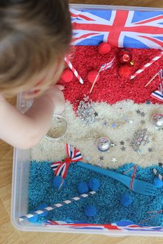 Patriotic sensory tub - easily adapt this for 4th July celebrations!