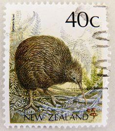 stamp timbre Nouvelle-Zélande Kiwi bird stamp New Zealand postage Commonwealth Briefmarke Neuseeland bollo francobollo Nueva Zelanda selo Kiwi Bird, New Zealand Art, Postage Stamp Art, Bird Logos, Kiwiana, Thinking Day, Vanuatu, Commonwealth, Stamp Collecting