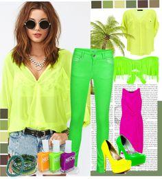"""neon3"" by bojanaf ❤ liked on Polyvore"