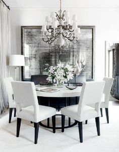 ♅ Dove Gray Home Decor ♅  white and grey dining room
