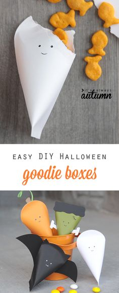 easy DIY Halloween character treat boxes – It's Always Autumn Adorable! Easy DIY Halloween character treat boxes made from cardstock – perfect for goodie bags! Halloween Snacks, Dulceros Halloween, Halloween Goodie Bags, Hallowen Food, Hallowen Ideas, Adornos Halloween, Manualidades Halloween, Halloween Goodies, Toddler Halloween