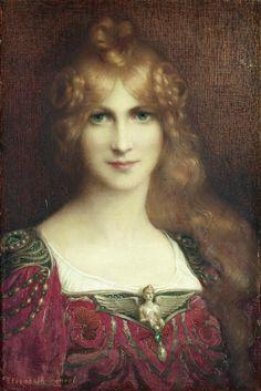 Elisabeth Sonrel - Portrait de femme aux yeux verts her brooch! Art Nouveau Pintura, Art Through The Ages, Elisabeth, Pre Raphaelite, Painted Ladies, Woman Painting, Portrait Art, Female Portrait, Beautiful Paintings