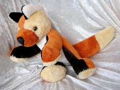 RED FOX  Soft Toy stuffed plush animal with sparkling eyes by #TALLhappyCOLORS #handmade #OOAK #unique #redfox #fox #softtoy #stuffedfox #stuffedanimal #HomeDecor