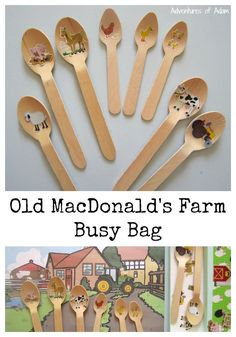 Our Old MacDonalds Farm Busy Bag was so quick and easy to make - in fact Adam made it himself. We simply used some wooden spoons and teaspoons, farm stickers, a farm yard picture and a recycled jewelry box. Great tool to use as a nursery rhyme prompt.