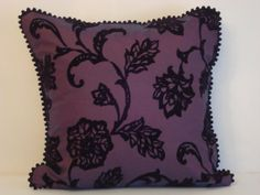 Aubergine poppy floral decor pillowcase  Black velvet by SABDECO, €25.00