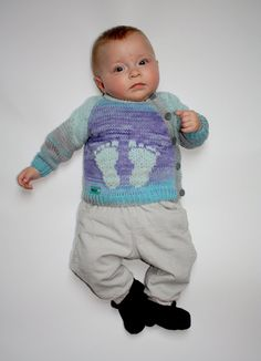 Light blue organic cotton & acrylic cardigan with by MollyTheSheep