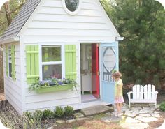 Converted Shed to outdoor play house - LOVE! Build A Playhouse, Playhouse Outdoor, Outdoor Play, Outdoor Spaces, Outdoor Living, Playhouse Ideas, Playhouse Windows, Playhouse Interior, Girls Playhouse