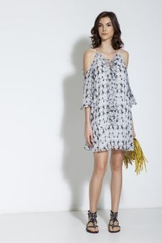 VESTIDO SEDA ESTAMPA SHELL PB / Animale e-Store