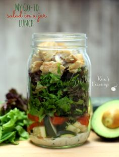 My Go-To Salad in a Jar Lunch is super easy and super quick with a nutritious boost to fuel the craziest of days!
