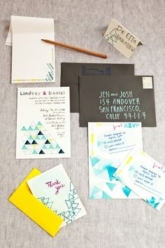 Wedding invite @Jordan Hall. so not sure if these are your style...but love the colors obviously...and the lil triangles remind me of teepees...and they are cute and casual...but maybe too much so?