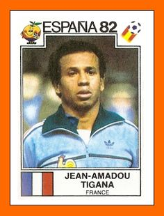 Jean Tigana of France. 1982 World Cup Finals card. Uefa Football, Football Icon, World Football, Football Players, Football Stickers, Football Cards, Baseball Cards, 1982 World Cup, Fifa World Cup