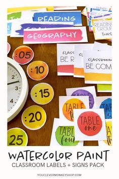 Bring your classroom to life with this stunning WATERCOLOR PAINT editable pack of classroom labels and signs in every color of the rainbow! Made to match all our WATERCOLOR PAINT Classroom Decor, this resource is easy to edit - decide on your labels, use our fonts or add your own then press print! Ready to print table numbers, reading group signs, classroom rules, clock numbers and so much more! #watercolorclassroomdecor Classroom Labels, Classroom Rules, Classroom Displays, Classroom Themes, 7th Grade Math, Grade 2, Math Activities, Math Games, Shape Posters