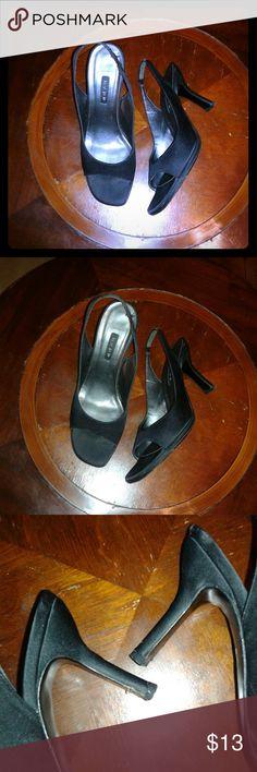Black Opentoe Slingbacks (8.5) ☆ Shoes Heels