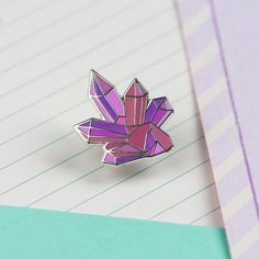 Pink Crystal Cluster Enamel Pin // Gemstone enamel pin // Geometric pin//EP035