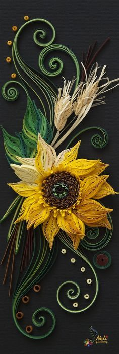 Super cool quilled sunflower - by: neli