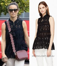 Click to shop Pippa Middleton's black Kate Spade New York eyelet sleeveless top