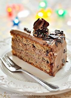hazelnut cake with chocolate cream Hazelnut Cake, Chocolate Cream, Food Cakes, Banana Bread, Cake Recipes, Sweets, Layer Cakes, Baking, Costumes