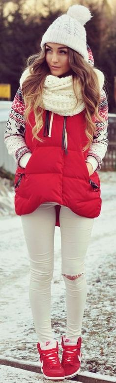 Styleev: Red in combination with white .. #styleev