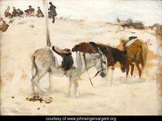 Donkeys in a Desert - John Singer Sargent - www.johnsingersargent.org