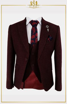 Keep your young man's style tight with this sleek suit set. Using a textured fabric with a rich burgundy tone this is a complete boys suit set that has all you need for when you need a suit for a formal event. Shop now at SIRRI kids #childrens suits #boys 3 piece suit #kids wedding suits #boys communion suits