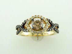 LeVian 14K Yellow Gold Chocolate Diamond Bridal Ring 1.21TCW - YPVS29 #LeVian…