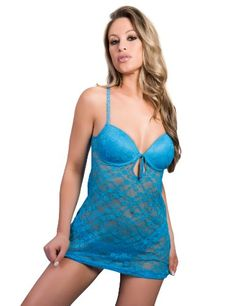 50c3058dc44 Amazon.com  Just Sexy Women s Plus-Size Stretch Lace Padded Cup Babydoll  with Keyhole and Tassel