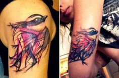 Vibrant Watercolor-Like Tattoos Inspired By Street Art Works Of L7M