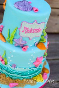 Under the sea cake, mermaid cake, little mermaid cake, kids birthday cakes, sea shells cake  Mama Nenas cakes