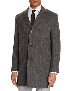 John Varvatos Star USA LUXE Herringbone Overcoat