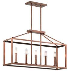 Kichler Lighting Archibald Collection 5-light Antique Copper Linear Chandelier