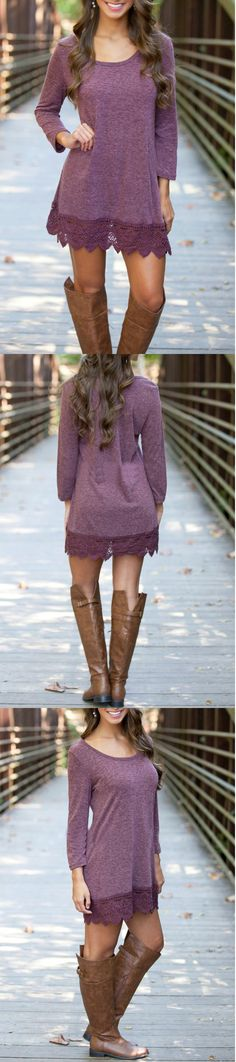 Chic Lace Paneled A-line Dress Dresses Dresses Fashion Fashion Dresses On Sale Trends Would be cute over leggings and boots Cute Dresses, Casual Dresses, Casual Outfits, Cute Outfits, Stylish Dresses, Dresses Dresses, Fashion Dresses, Fall Winter Outfits, Autumn Winter Fashion