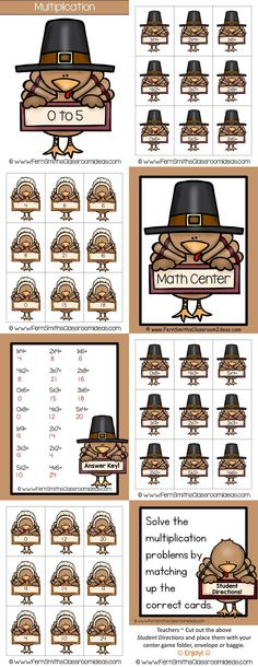 Thanksgiving: Quick and Easy to Prep Thanksgiving - Mixed Multiplication 0 to 5 Basic Facts Center Game for #Thanksgiving #TpT #FernSmithsClassroomIdeas $paid