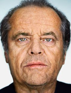 Portrait of Jack Nicholson by Martin Schoeller (There's so much life experience etched on this man's face- this photo is hard to look at - why does he appear so defeated? Martin Schoeller, Jack Nicholson, Famous Portrait Photographers, Famous Portraits, Celebrity Faces, Celebrity Portraits, Iggy Pop, Clint Eastwood, George Clooney