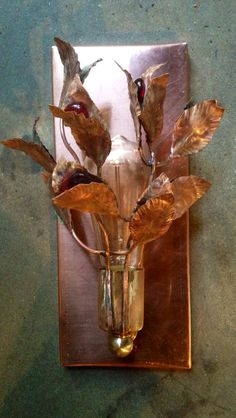 Copper and Glass wall Sconce. Hand made one of a kind by High Beams Ltd. highbeams.com