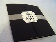Gatefold Wedding Programs - The Katherine - Beautiful Smooth Cardstock with Satin Ribbon. $2.50, via Etsy.