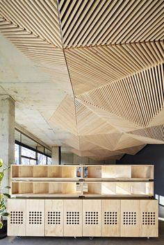 Origami inspired Wood Ceiling Assemble Studio