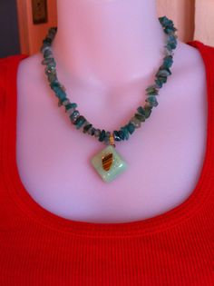 Aventurian Necklace with a Pendant #Handmade