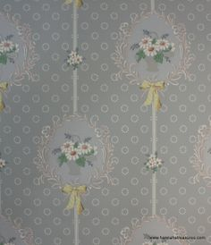 1930's Vintage Wallpaper Blue with white daisy by HannahsTreasures