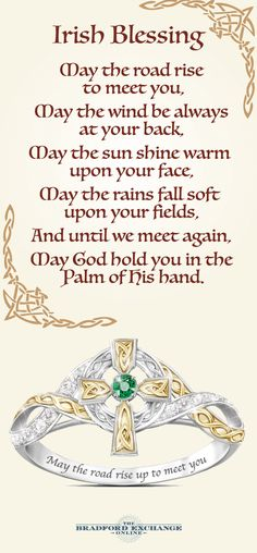 Wear a beautiful expression of your Irish faith! A breathtaking Celtic cross defines this sparkling emerald and diamond ring, engraved with a meaningful blessing. Arrives with a poem card and gift box.