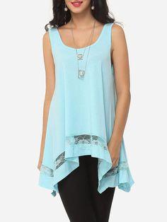 #Fashionmia - #Fashionmia Hollow Out Patchwork Plain Asymmetrical Hems Charming Scoop Neck Camisoles - AdoreWe.com