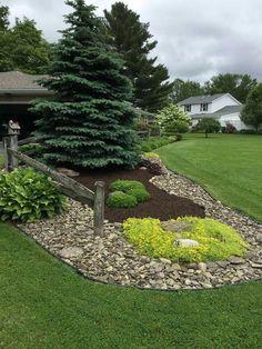 Genius Low Maintenance Rock Garden Design Ideas for Frontyard and Backyard - garden landscaping Landscaping With Rocks, Landscaping Tips, Front Yard Landscaping, Acreage Landscaping, Outdoor Landscaping, Landscaping Borders, Inexpensive Landscaping, Country Landscaping, Landscaping Software