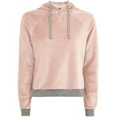 Topshop Nude Velour Loungewear Hoodie (275 MXN) ❤ liked on Polyvore featuring tops, hoodies, topshop, nude, pastel pink hoodie, pink velour hoodie, sweatshirt hoodies, pastel hoodie and velour hoodie