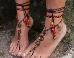 THUNDERBIRD BAREFOOT Sandals Toe Ankle Bracelet Native por GPyoga