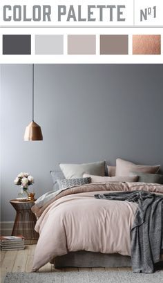 Copper and muted colors in bedroom results in a winner color palette. Wiley Valentine√ Best Paint Living Rooms Color Ideas Prodigious Badcock Furniture Bedroom Sets Ideas…Elegant Bedroom: A balanced color palette and a… Best Bedroom Colors, Bedroom Colour Palette, Palette Bed, Grey Palette, Bedroom Colour Schemes Neutral, Gray Color Schemes, Bedroom Colours 2017, Paint Schemes, Paint Colours For Bedrooms