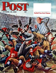 Football Pile-up by Constantin Alajalov from October 23, 1948