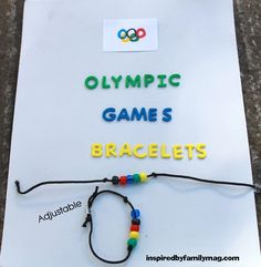 Olympic Games Bracelet: Winter Olympics Crafts for Kids. #StayCurious #campgameswinter Olympic Games For Kids, Olympic Idea, Olympic Sports, Activities For Kids, Olympic Gymnastics, Gymnastics Quotes, Tumbling Gymnastics, Cheerleading Quotes, Indoor Activities