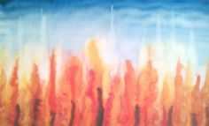 Waldorf ~ 4th grade ~ Norse Mythology ~ Fire & Ice ~ watercolor painting